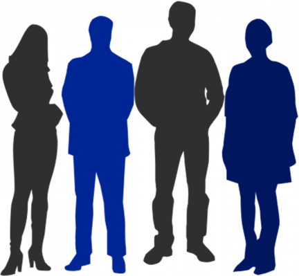 drawn silhouettes of four people