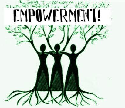 drawing of three people formin a tree weith the word empowerment