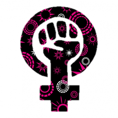 pink and black feminism fist
