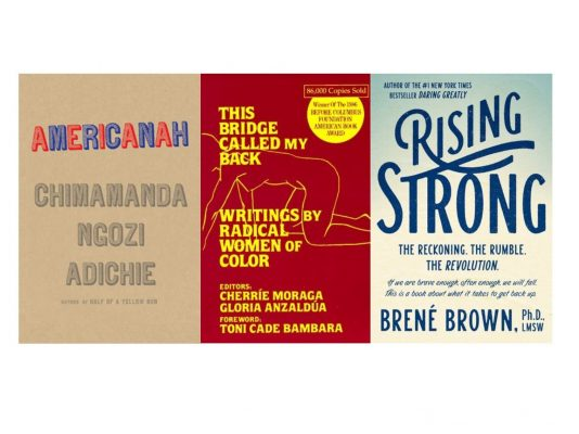 book cover images of Americanah, This Bridge Called My Back, and Rising Strong