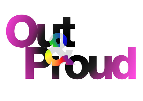 "the term ""out and proud"" in colorful text against a white background"
