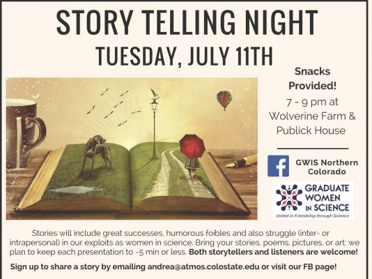 storytelling night details, which can be found in the site details. There is also an image of an open book lying on a table next to a coffee cup. The book has a dog, lamppost, and a road being walked by a child carrying a red umbrella. It appears that the book is taking th reader to a different place.