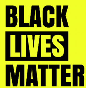 "Black text that reads ""Black Lives Matter"" on a yellow background"