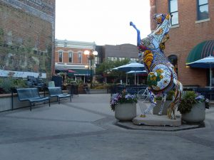 A statue of a horse in downtown Fort Collins, CO