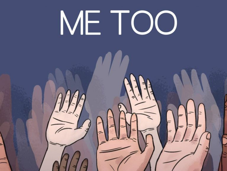 "A group of hands raised below text that reads ""me too"""