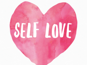 A pink heart with the words self love