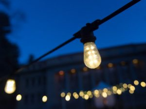 light bulb in front of building