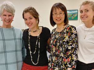 Mary Swanson, associate director of the Office of Undergraduate Research and Artistry (far right), joins Department of Design and Merchandising Professor Diane Sparks (far left), student Nogah Seidemann and Associate Professor Terry Yan to celebrate Seidemann's selection as a Udall Scholar.