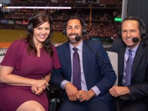 CSU alumna Jenny Cavnar was joined in the broadcast booth by former Rockies players Ryan Spilborghs and Jeff Huson.