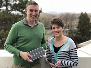 Professor John Volckens and postdoctoral fellow Jessica Tryner hold prototypes for their new air sampling technology.