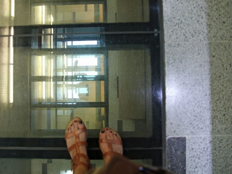 The Nicanor Parra Library in Santiago, Chile, where glass floors make for a light-filled building — and make it awkward to wear skirts.