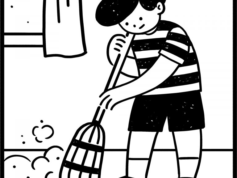a child sweeps the floor