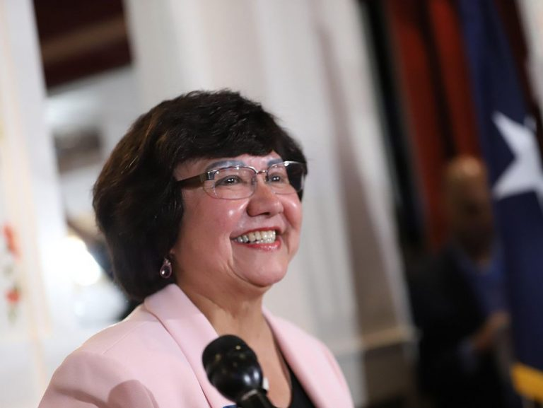 Lupe Valdez gives her victory speech after defeating Andrew White in the Democratic runoff for governor on Tuesday, May 22, 2018