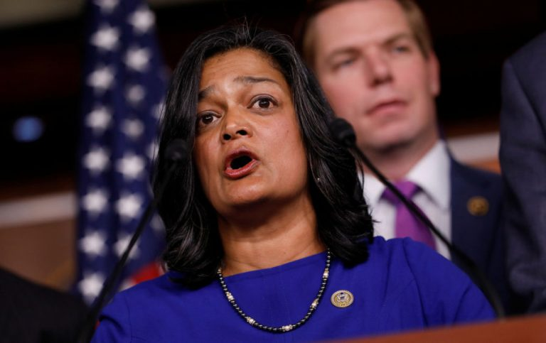 Pramila Jayapal (D-WA) speaks on Capitol Hill