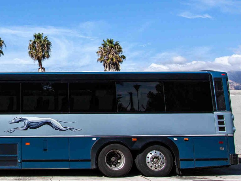 greyhound bus in parking lot