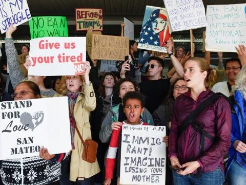 women protect Trump's immigration policies
