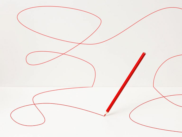red pencil drawing curvy lines