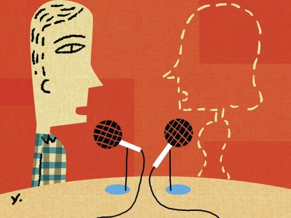 illustration of two people talking