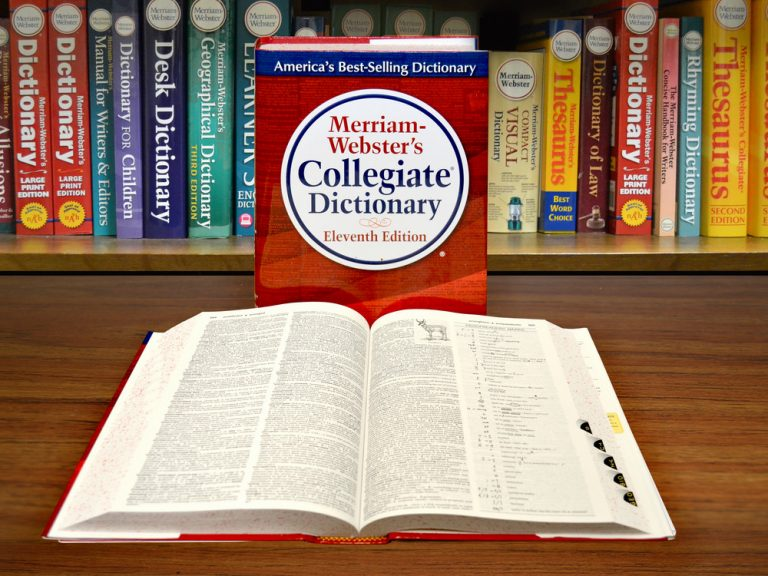 dictionary on a table