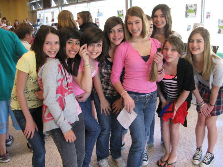 group of middle school girls