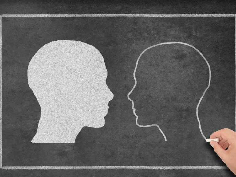 drawing of two people looking at each other