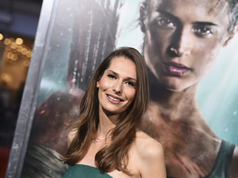 Geneva Robertson-Dworet arrives at the Tomb Raider premiere at Los Angeles' TCL Chinese Theatre in March.