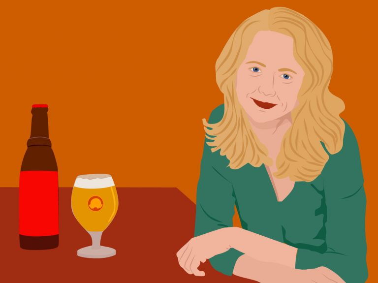 drawing of a woman and beer