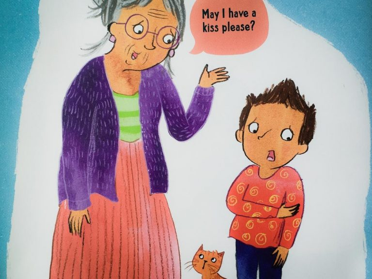 "an elderly woman asking a reluctant-looking child, ""May I have a kiss please?"