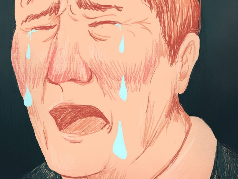 drawing of man crying