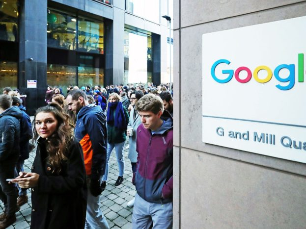 People protesting during the Google Walkout