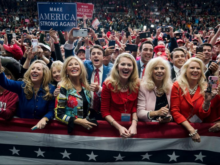 A rally in Charlotte, N.C., last week. President Trump enjoys a herolike status among women who say he is fighting to preserve a way of life threatened by an increasingly liberal Democratic Party.