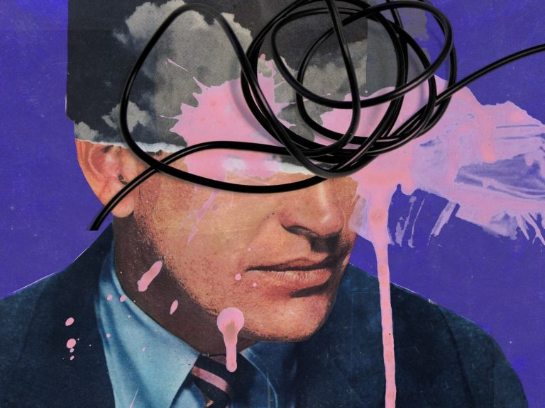 pop art of a man and wires