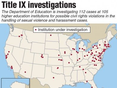 map of Title IX investigations