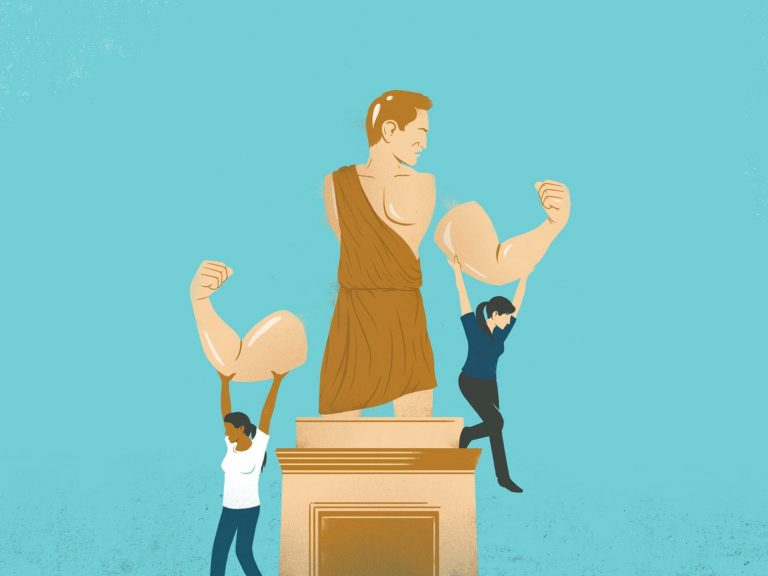 illustration of people removing arms of statue