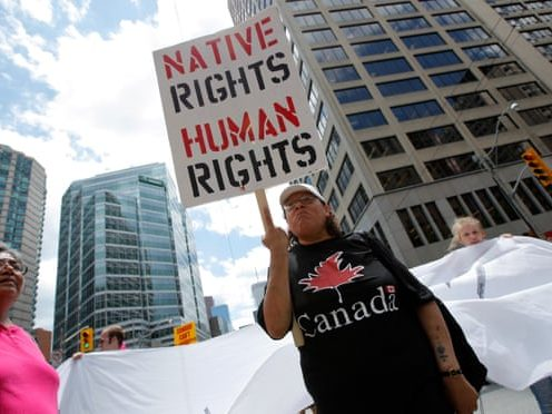 "Persons holding a sign reading ""Native Rights. Human Rights."""