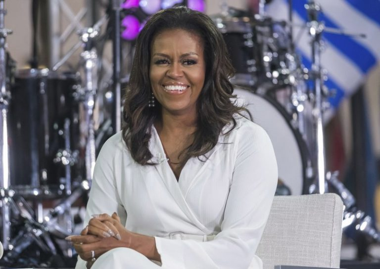 Michelle Obama looks at camera during interview