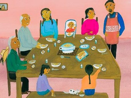 drawing of family sitting around a table at thanksgiving
