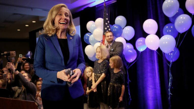 Abigail Spanberger, Democratic candidate for Virginia's 7th District in the U.S. House of Representatives, thanks supporters at an election night rally. Spanberger declared victory over Republican incumbent Dave Brat.