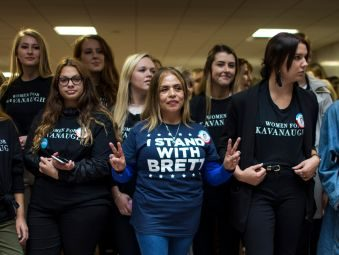 group of women wearing shirts in support of Bret Kavanaugh