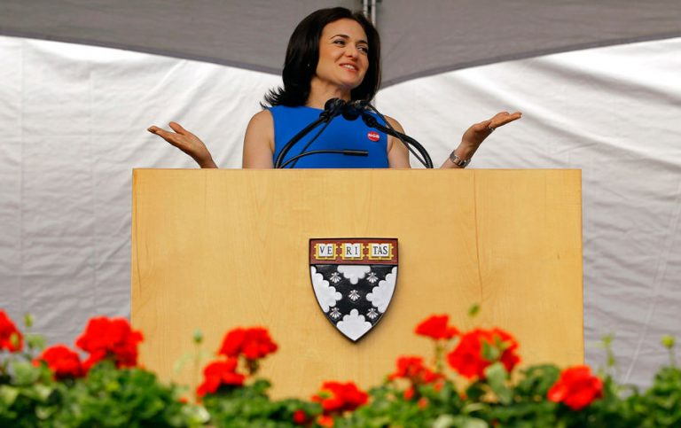 Sheryl Sandberg speaking at Harvard Business School's graduation, May 23, 2012.