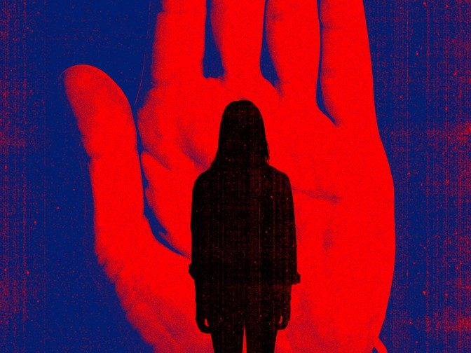 illustration of a shadow of a woman standing in front of an illustrated large hand