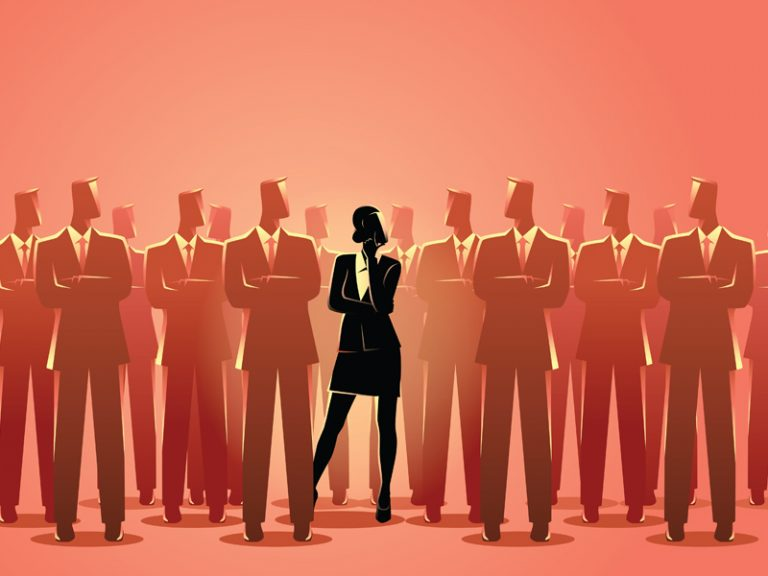 illustration of one woman dressed in business suit standing among men