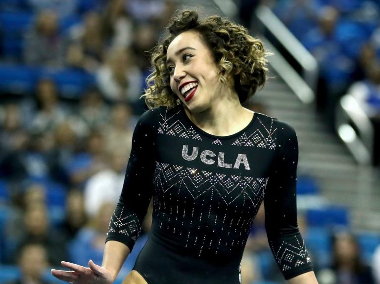 Katelyn Ohashi of UCLA during an NCAA college gymnastics match on Jan. 4 in Los Angeles. (Ben Liebenberg/AP)