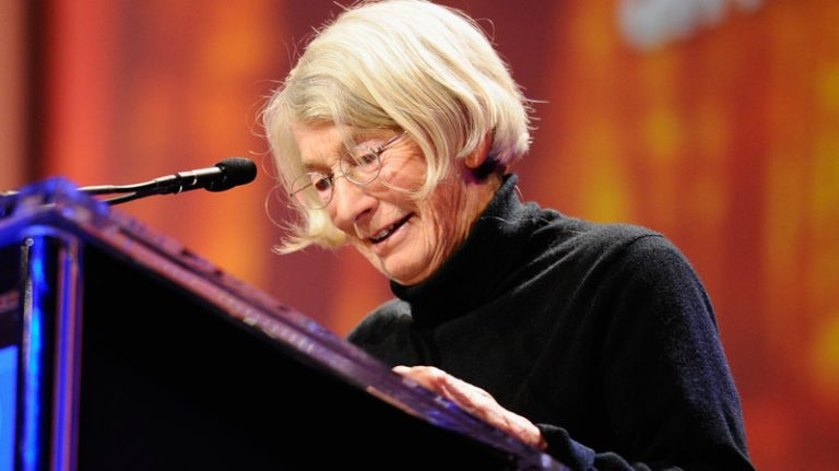 Mary Oliver speaking at an event