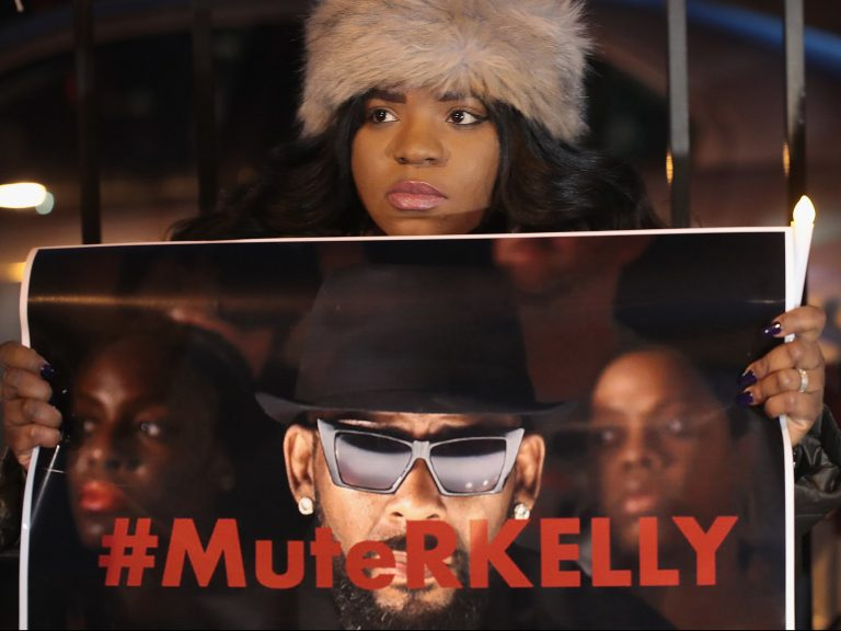 Demonstrators gathered on Wednesday near the studio of the singer R. Kelly to call for a boycott of his music.CreditCredit