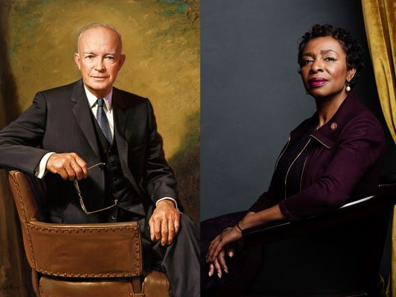 President Dwight D. Eisenhower's official portrait, left, and Representative Yvette Clarke, Democrat of New York.