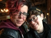 Sarah Koehler, left, with wife Marissa. The New York City couple are trying to start a family.