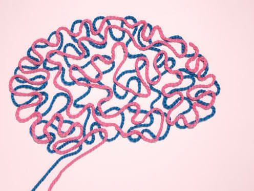 illustration of brain made from pink and blue string