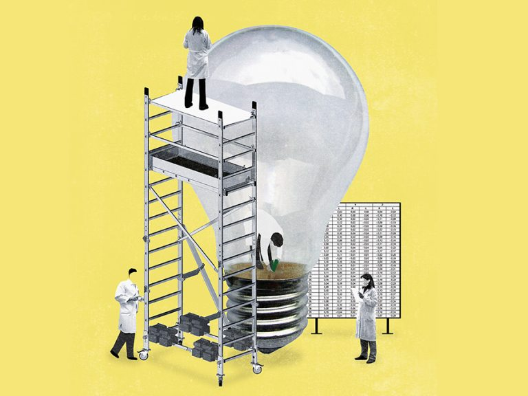 illustration of people standing around a light bulb