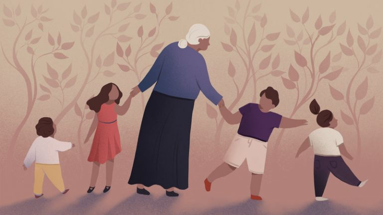 Illustration of grandmother holding the hands of her grandchildren